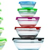 Set of 5 Nested Glass Mixing Bowls with Plastic Lids