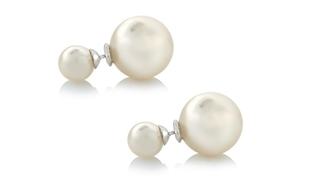 Simulated Pearl Double-Sided Earrings