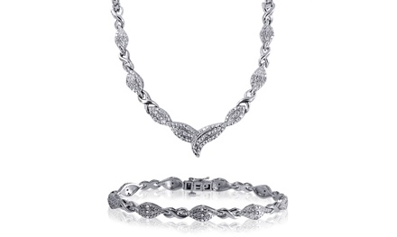 1/2 CTTW Round Diamond Necklace and Bracelet Set