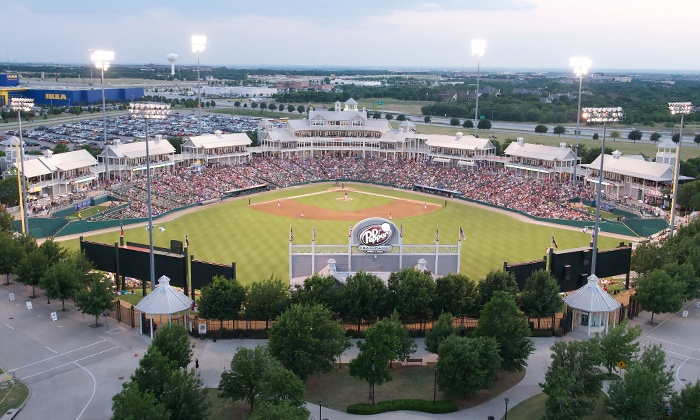 Frisco RoughRiders on Memorial Day Weekend - Dr. Pepper Ballpark: $15 for One Ticket to a Frisco RoughRiders Baseball Game Plus a Hotdog and Soda at Dr Pepper Ballpark  ($33.13 Value)