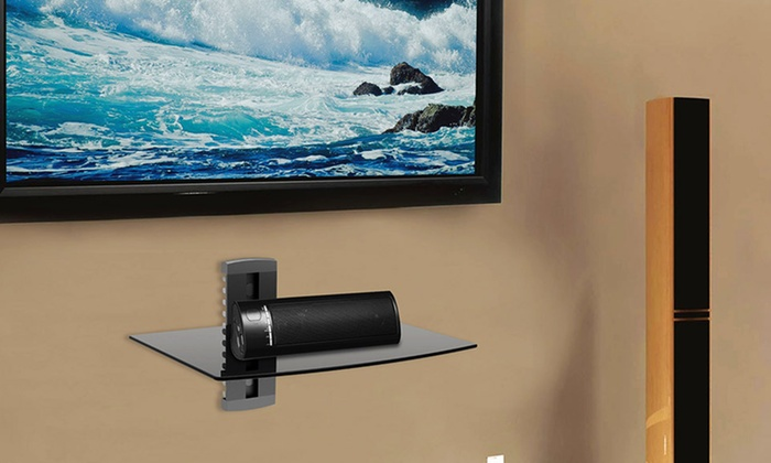 argom tv wall mount component shelf groupon. Black Bedroom Furniture Sets. Home Design Ideas