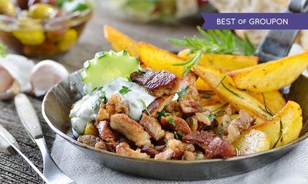 Menu greco di carne o vegetariano con vino