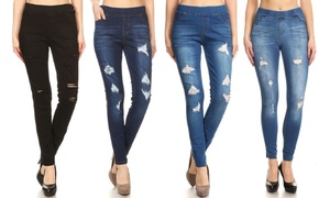 Women's Pull-On Skinny Ripped and Distressed Denim Jeggings
