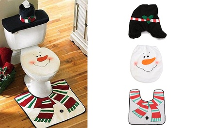 ThreePiece ChristmasThemed Toilet Decoration Set in Choice of Design: One $15 or Two $25