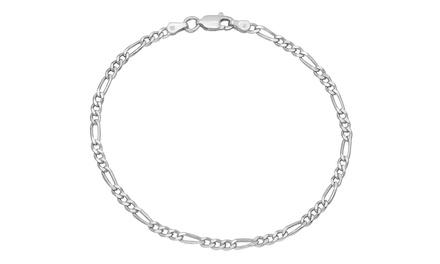 Italian Sterling Solid Silver Figaro-Chain Bracelet with Velvet Pouch