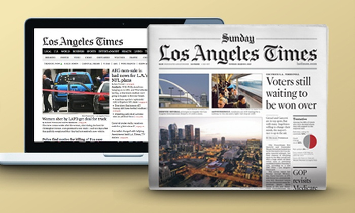 "Los Angeles Times - Los Angeles: 6- or 12-Month Sunday Print Subscription with Daily Digital Subscription to ""Los Angeles Times"" (81% Off)"