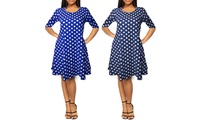 Women's 3/4-Sleeve Polka Dot T-Shirt Dress with Side Pockets. Plus Sizes Available.