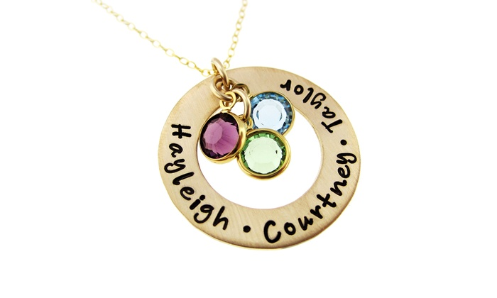 Hannah Design: Golden Circle of Names I Love Pendant with Birthstone Crystals from Hannah Design