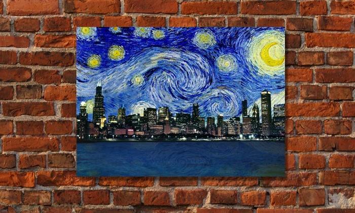 Starry Night Skyline Prints on Canvas: Starry Night Skyline Prints on Canvas. Free Shipping and Returns.