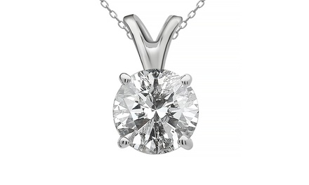 1.00–2.00 CTW Diamond Solitaire Pendant in 14K White Gold from $799.99–$1,999.99