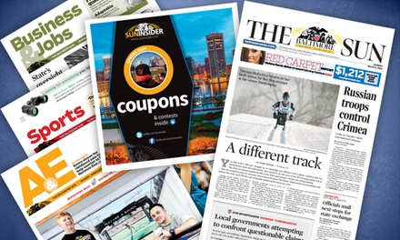 "$10 for a 52-Week Wednesday and Weekend Subscription to ""Baltimore Sun"" ($155 Value)"
