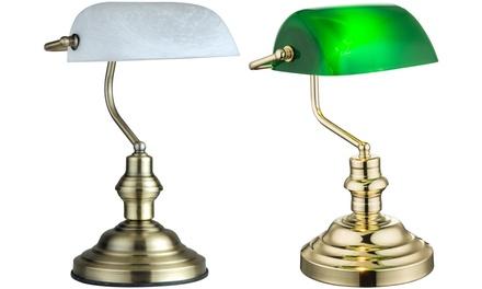 Globo Tischleuchte aus Messing in Acryl-Grün oder aus Altmessing-Glas in Optik-Weiß (Koln)