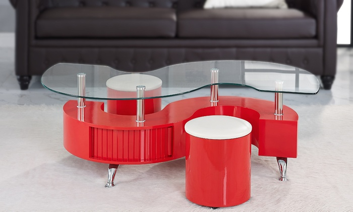 ... Groupon Goods Global GmbH: Madrid S Coffee Table With Stools In Choice  Of Colour