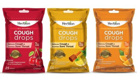 Herbion Naturals Cough Drops (5-Pack) - Cherry, Honey Lemon, or Orange