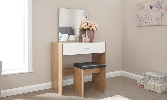 Clara High Gloss Dressing Table and Stool Set in a Choice of Colour