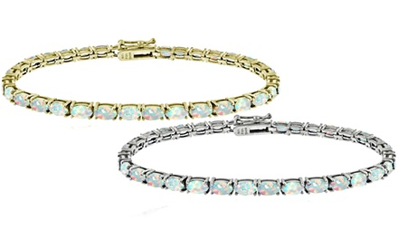 Created White Opal Tennis Bracelet in Sterling Silver