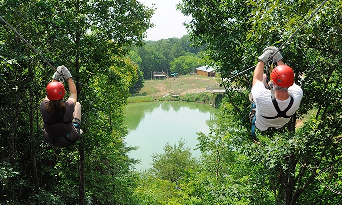 North Georgia Canopy Tours - Lakeshore: Zipline Tour for One, Two, or Four with T-Shirt at North Georgia Canopy Tours (