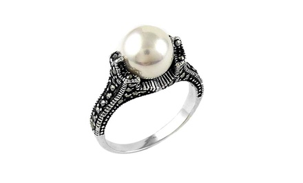 Freshwater Pearl & Genuine Marcasite Ring in Sterling Silver