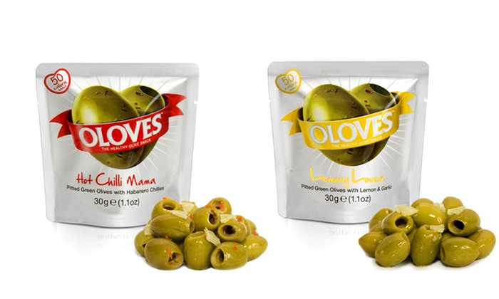 14-Pack of Oloves Healthy Snacking Olives: 14-Pack of Milas Food Oloves Snacking Olives in Hot Chili Mama or Lemony Lovers