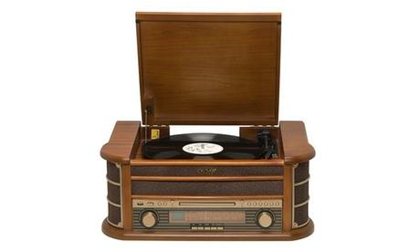 Tocadiscos retro de madera con radio, CD, casete, USB y MP3 Denver