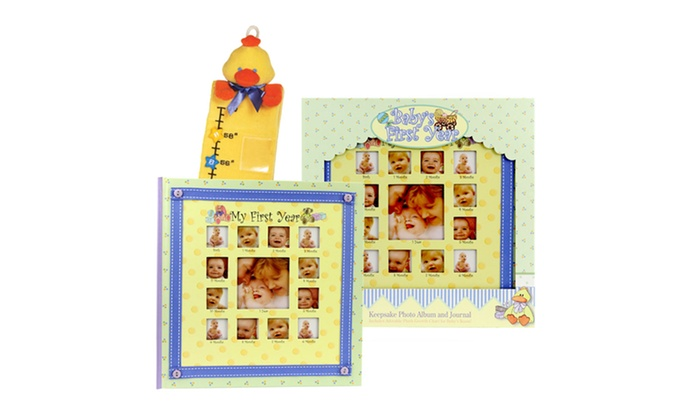 Baby's First Year Keepsake Bundle: Baby's First Year Keepsake Photo Album and Journal with Plush Growth Chart