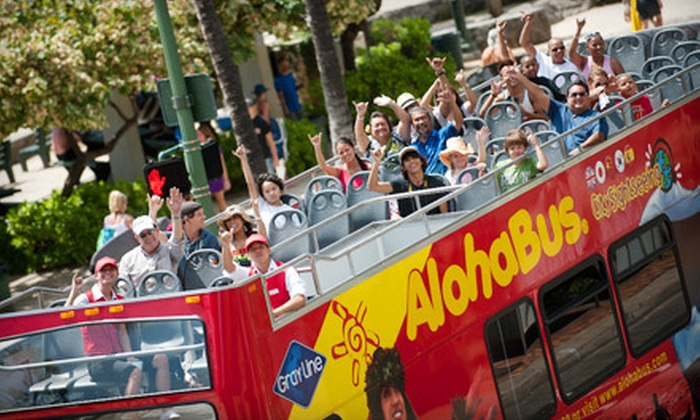 Aloha Bus City Sightseeing Hawaii - Hickham: 24-Hour Double-Decker Sightseeing Hawaii Bus Pass for One or 72-Hour Sightseeing Hawaii Bus Pass for One or Four from AlohaBus (Up to 64% Off)