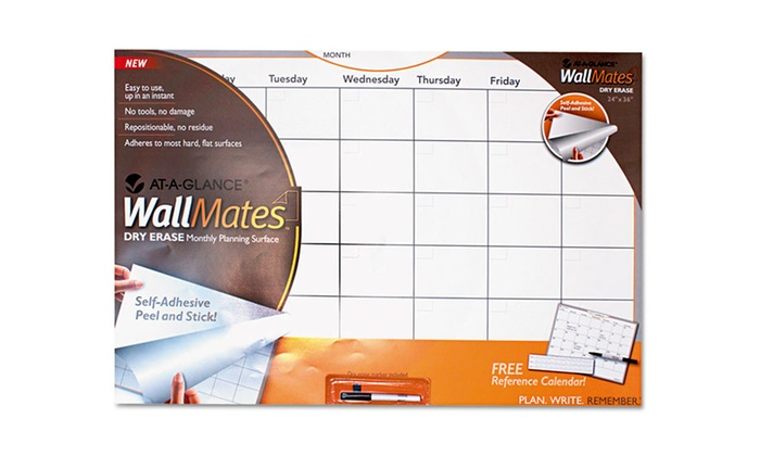 """At-a-Glance WallMates Dry Erase Monthly Planning Surface: At-a-Glance WallMates 36""""x24"""" Self-Adhesive Dry Erase Monthly Planning Surface with Dry-Erase Marker. Free Returns."""