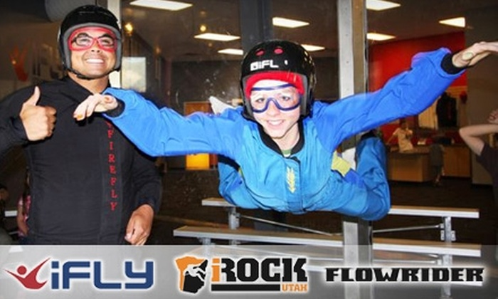 Flowrider - Ogden: $49 for an Indoor Skydive at iFly, One-Hour Indoor-Surfing Session at Flowrider, and One-Day Rock-Climbing Admission at iRock in Ogden
