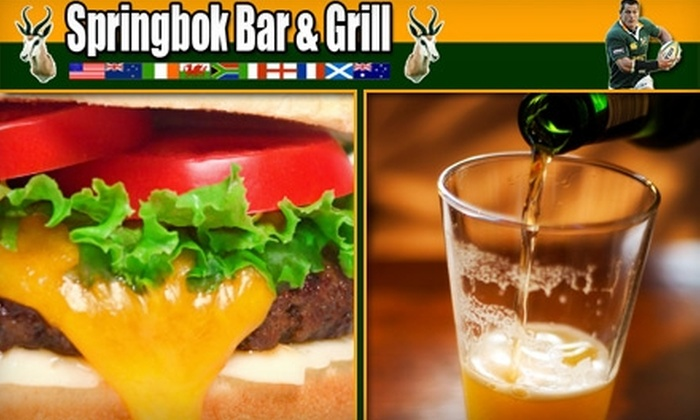 Springbok Bar & Grill - Lake Balboa: $15 for $30 Worth of Southern Hemisphere Fare and Drinks from Springbok Bar & Grill
