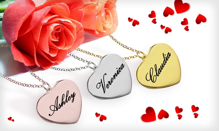 Custom Sterling-Silver Heart Pendant: Custom Sterling-Silver Heart Pendant with Optional Gold or Rose Gold Plating (Up to 74% Off). Free Shipping.