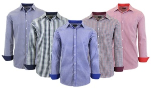 Men's Long Sleeve Slim Fit Gingham Dress Shirt