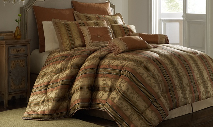 Luxury 10-Piece Comforter Sets: Luxury 10-Piece Queen or King Comforter Sets (Up to 66% Off). 4 Styles Available. Free Shipping and Returns.