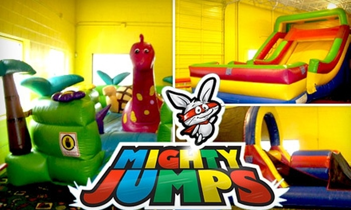 Mighty Jumps - Underwood Hills: $20 for a 10-Admission Jump Pass to Exciting Obstacle Courses, Bouncy Inflatable Slides, and More at Mighty Jumps ($50 Value)