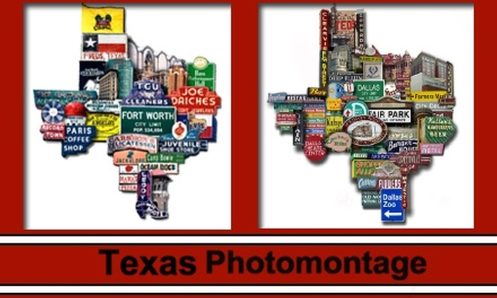 Texas Photomontage - Dallas: $29 for a Medium, Signed & Numbered Texas-Shaped Photomontage Print of Your Texas City with Free Ground Shipping from Texas Photomontage (Up to $66 Total Value)