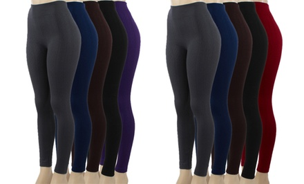 5-Pack of Cable Knit Fleece Leggings