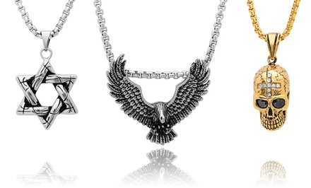 Men's Novelty Pendant Necklaces in Stainless Steel and 18-Karat Gold from $21.99—24.99