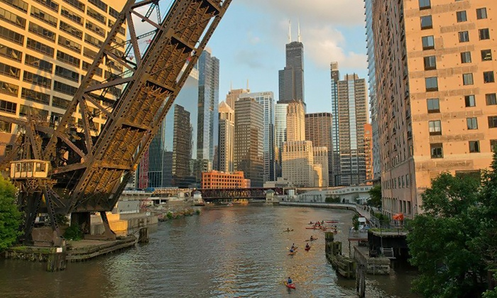 Events with BeneFitz, LLC - Kayak Chicago: Sunset Kayak Tour with a Bonfire and Food-Truck Feast