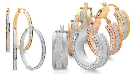 Glitter Hoop Earrings with Simulated Diamonds