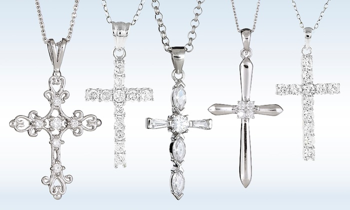 Cubic zirconia cross pendant groupon goods cubic zirconia cross pendant in sterling silver aloadofball Image collections