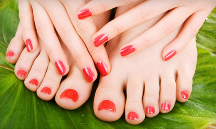 Blue Seas Hair and Nail Salon - Fortville: $24 for a Manicure and Spa Pedicure at Blue Seas Hair and Nail Salon in Fortville