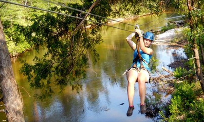 Adventures Unlimited - Munson-McLellen: $64 for Zip-Line Tour Over Wolfe Creek and Coldwater Creek from Adventures Unlimited in Milton, Florida ($129 Value)