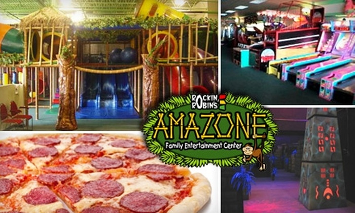 up to 56 off at entertainment center rockin robin s amazone family entertainment center groupon 15 for admission for two to laser tag or playground plus one large pizza and pitcher of soda at amazone family entertainment center up to 34