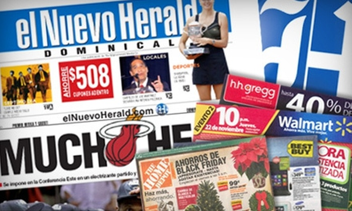 "El Nuevo Herald - Miami: $8 for a 12-Month Saturday and Sunday Subscription to ""El Nuevo Herald"" ($ 105.72 Value)"
