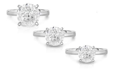 3.00, 4.00, or 5.00 CTTW Certified Solitaire Diamond Rings in 18K White Gold by Diamond Affection