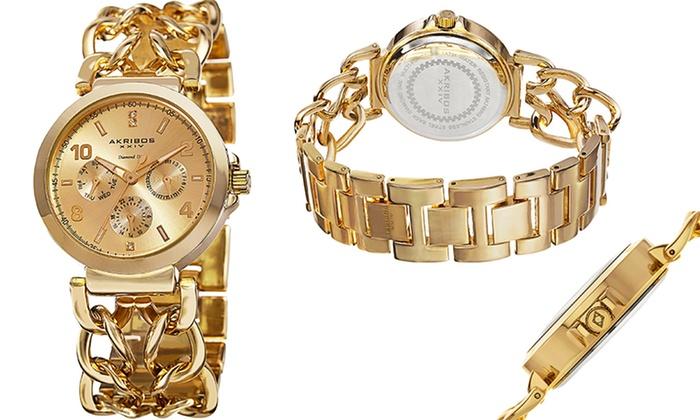 Akribos XXIV Women's Diamond Link Bracelet Watch: Akribos XXIV Women's Diamond Link Bracelet Watch