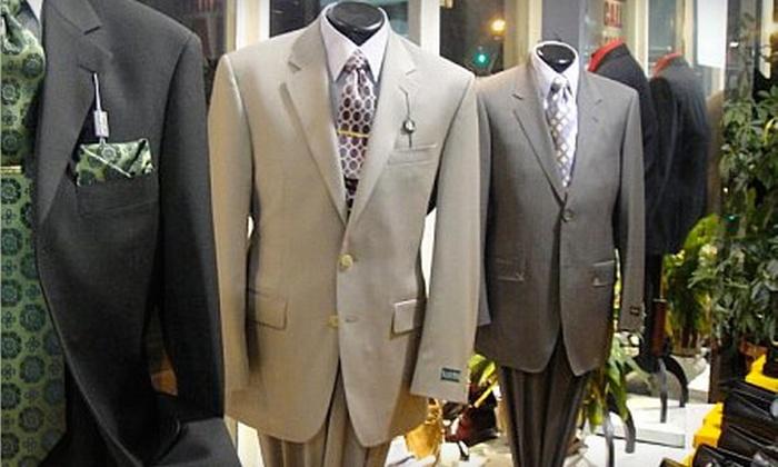Men's Designer Fashion Outlet - Boston: $225 for One Designer Suit (Up to $490 Value) or $20 for $40 Worth of Accessories at Men's Designer Fashion Outlet