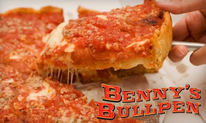 Benny's Bullpen - Downtown: $10 for $20 Worth of Burgers, Pizzas, and Microbrews at Benny's Bullpen