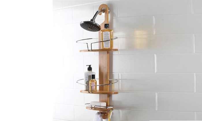 Bamboo Shower Storage Caddy | Groupon