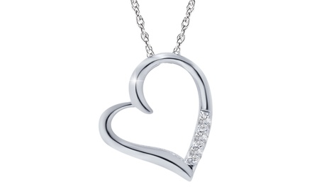 Diamond Accent Heart Pendant in 10K Solid White Gold by Bliss Diamond