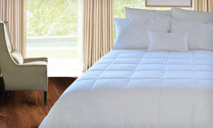 Microfiber Down-Alternative Comforter: Natural Comfort Microfiber Down-Alternative Comforter in Twin, Full, Queen, or King (Up to 64% Off). Free Shipping.